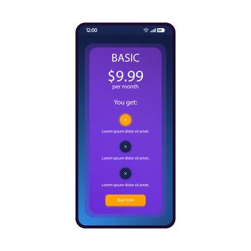 Tariff plan smartphone interface vector template