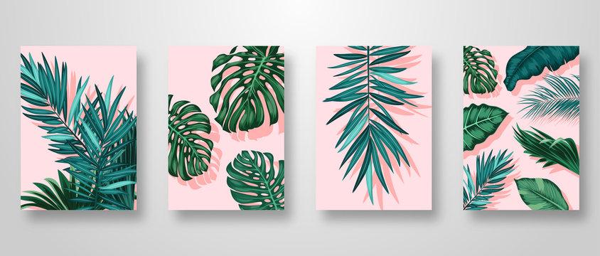 Set Invitation Card Leaves Background