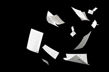 Many flying business documents isolated on black background Fotomurales
