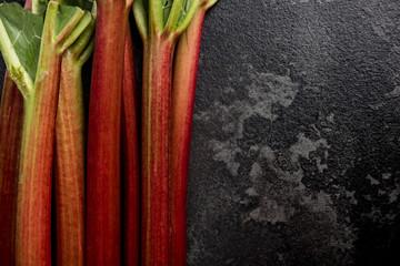 Market fresh rhubarb on dark marble background, copy space