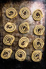 Cinnamon rolls swirl ready on baking tray