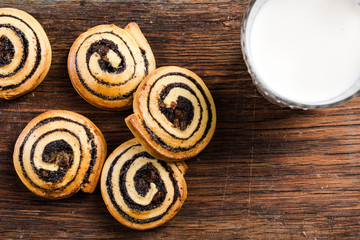 French pastry swirls served with milk