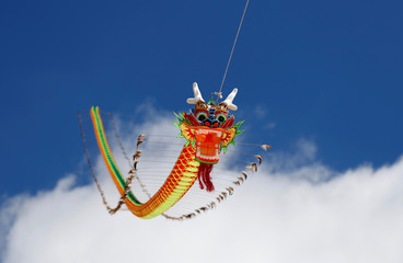 A long dragon kite is flown during the Chinese Kite Festival in Valletta