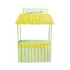 Watercolor hand drawn illustration lemonade stand in yellow and green colors