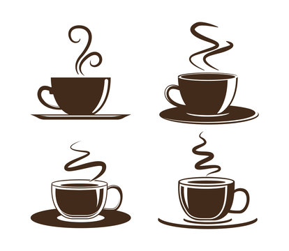 Coffee cup icon. Set of vector cups with coffee. Coffee cup logo.