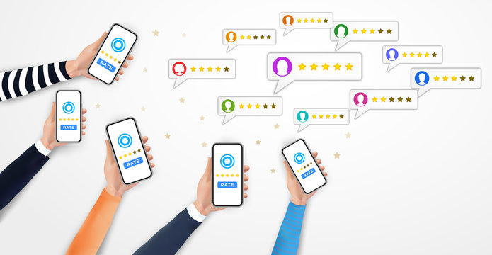Many hands holding smartphone with review rating bubble speeches on screen. Social media marketing. Customer review with stars rate system, client mobile app feedback evaluation. Vector illustration