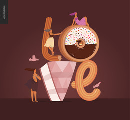 Dessert font - modern flat vector concept digital illustration of temptation font, sweet lettering and girls. Caramel, toffee, biscuit, waffle, cookie, cream and chocolate letters. Lettering Love
