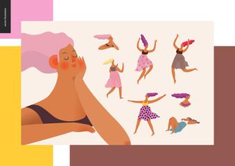 Dessert girl power set - modern flat vector concept digital illustration of various girls, jumping, dancing, dreaming, thinking, running