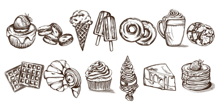 Sweets pattern Vector line art style. Ice cream, croissant, pancakes illustrations
