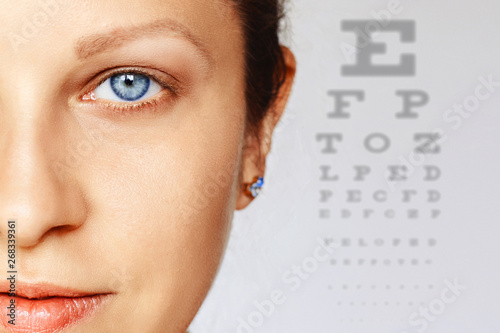 Femal face with blue eye with test chart on background
