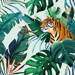 Exotic seamless pattern. Tropical leaves and tiger. Vector illustration