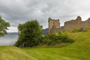 Urquhart Castle on the Shore of Loch Ness, Scotland.