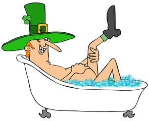 Leprechaun taking a bubble bath