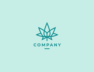 Modern linear cannabis leaf logo icon. Cannabis business logotype concept. Vector illustration.