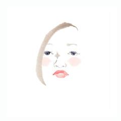 魅力的な女性の顔、ピンクの頬