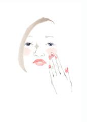 魅力的な女性の顔、ピンクの頬と手