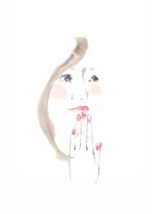 女性の横顔、ピンクの頬と手