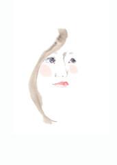 女性の横顔、ピンクの頬