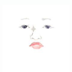 魅力的な女性の顔、素材