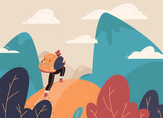 Traveler with a backpack, bangs with a backpack standing on a mountain peak and looking at the landscape in the distance. Concept of adventure tourism, travel, nature research and nature walks. Vector