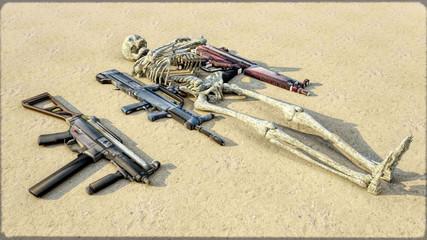 Human skeleton & guns