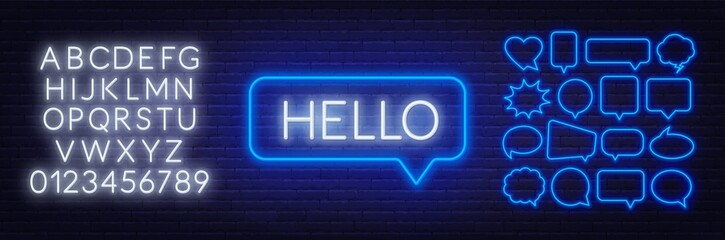 Neon sign of word hello in speech bubble frame on dark background.Set of neon speech bubbles and the alphabet on a dark background. Template for design.