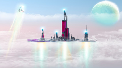 City of the future, urban landscape in the clouds, extraterrestrial planet. Other worlds. Space ships. Sci-fi, science fiction, landscape. 3d render