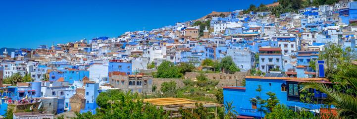 Foto op Plexiglas Marokko Panorama of the blue city of Chefchaouen in Morocco