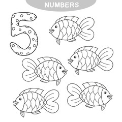 Educational game - Learning numbers. Number five. Coloring book for preschool children. five fish