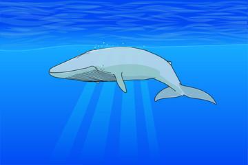 Ilustración de ballenas dentro del mar bajo agua