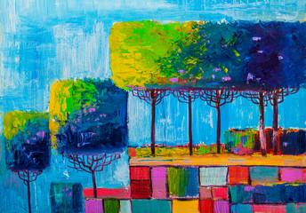 Obraz Original oil painting abstract trees - fototapety do salonu