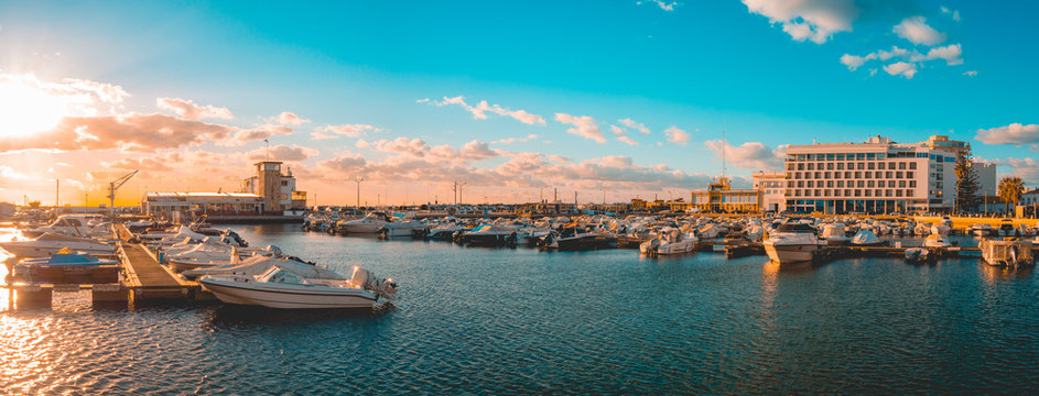 giant panorama of famouse port at faro, portugal in the evening