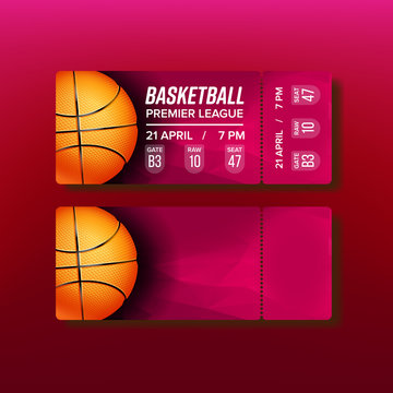 Ticket Tear-off Coupon On Basketball Match Vector. Stylish Card For See Championship Of Basketball Premier League Decorated Orange Playing Ball And Venue Information. Realistic 3d Illustration