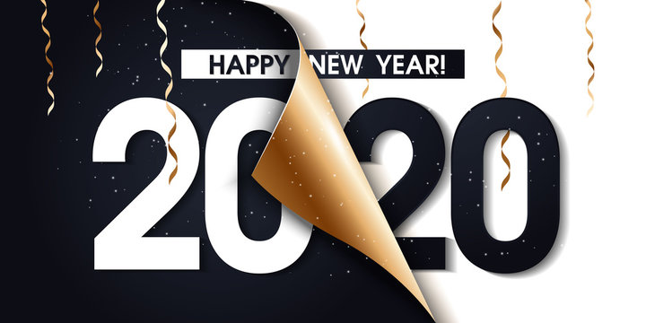 2020 Happy New Year Gold Promotion Poster or banner with open gift wrap paper. Change or open to new year 2020 concept.Promotion and shopping template for New Year.Vector EPS10