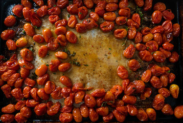 Organic Cherry Tomatoes Oven Roasted with Fresh Herbs and Pepper