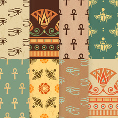 Set of eight seamless vector illustration of Egyptian national ornament with a lotus flower, eye Ra, scarab, ankh on the various background.