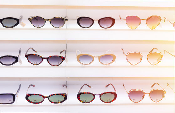Sunglasses on display for beauty and apparel.