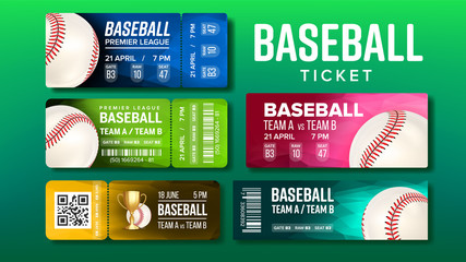 Stylish Design Baseball Game Tickets Set Vector. Collection Of Different Tickets For Visit Final Of Baseball Championship On Stadium Decorated Playing Ball And Venue Details Realistic 3d Illustration