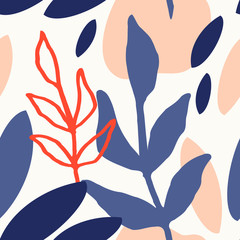 Branches and Leaf Shapes Seamless Pattern