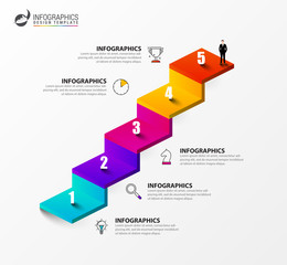 Wall Mural - Infographic design template. Creative concept with 5 steps