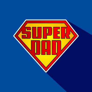 Super Dad hero logo in English with shadow. Ready to use in t-shirts, banners, fabrics, wallpapers, social media, posters and flyers. Father's day.