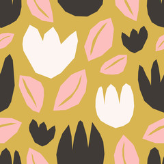 Paper Cut Shapes Floral Seamless Pattern