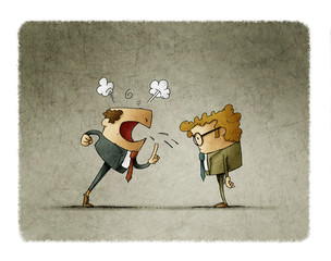 Boss is very angry and yells at his employee. Business concept. illustration