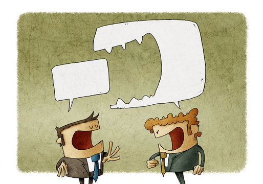 Angry man shouting at another man. Brutal Dispute, speech bubble is eaten another speech bubble. illustration.