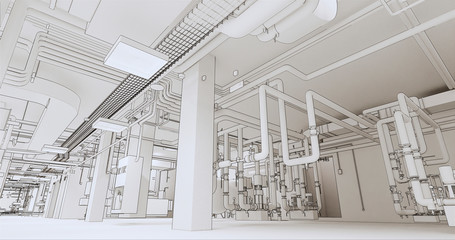 Conceptual visualization of BIM model of internal engineering communications of the building at drawing style