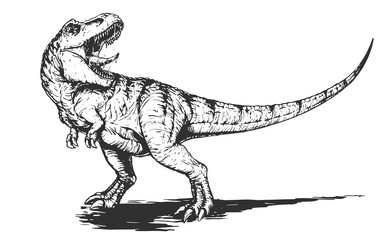 Cool aggressive dinosaur tyrannosaurus rex with open mouth