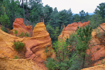 The ochre cliffs of Roussillon, ranked as one of the most beautiful villages of France
