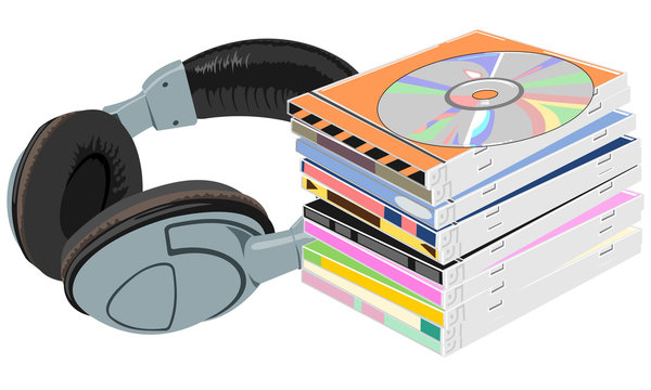 Vector. A stack of compact laser discs in boxes working shiny surface of the CD. Headphones are near the pile of CDs.