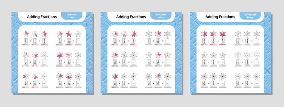 Adding Fractions Mathematical Worksheet Set. Coloring Book Page. Stars. Math Puzzle. Educational Game. Vector illustration.