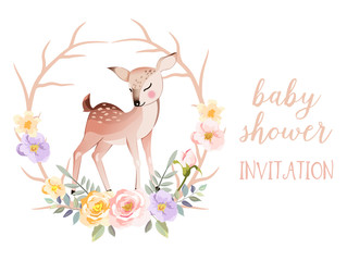 adorable character illustration background for baby shower invitation